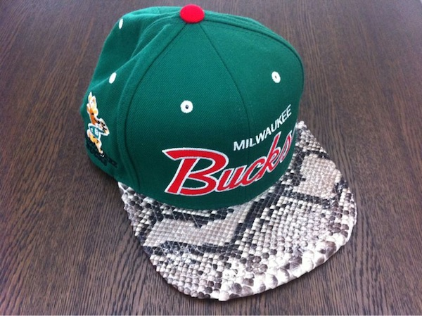 c81d08770e259 Detailed Look at Kanye West s Mitchell   Ness Snake Skin Snapback Hats